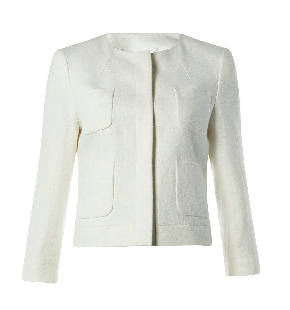 Women&#x27;s Peak Jacket, Ivory - pattern: plain; collar: round collar/collarless; hip detail: front pockets at hip; style: tailored/fitted; predominant colour: ivory; occasions: casual, occasion; length: standard; fit: tailored/fitted; fibres: polyester/polyamide - 100%; material texture: jersey; sleeve length: long sleeve; sleeve style: standard; collar break: high; pattern type: fabric; pattern size: standard; texture group: jersey - stretchy/drapey