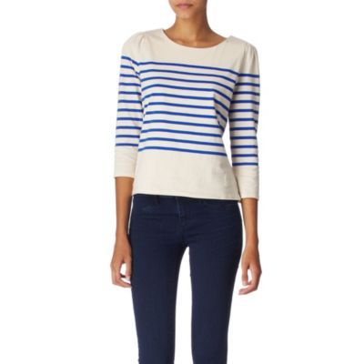 Striped Top - neckline: round neck; pattern: horizontal stripes; predominant colour: ivory; occasions: casual, work; length: standard; style: top; fibres: cotton - 100%; material texture: jersey; fit: straight cut; sleeve length: 3/4 length; sleeve style: standard; pattern type: fabric; pattern size: standard; texture group: jersey - stretchy/drapey
