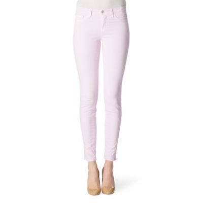 811 Skinny Jeans - style: skinny leg; pattern: plain; pocket detail: traditional 5 pocket; waist: mid/regular rise; predominant colour: lilac; occasions: casual; length: ankle length; fibres: cotton - stretch; material texture: denim; trends: pastels, 1950's; texture group: denim; pattern type: fabric; pattern size: standard