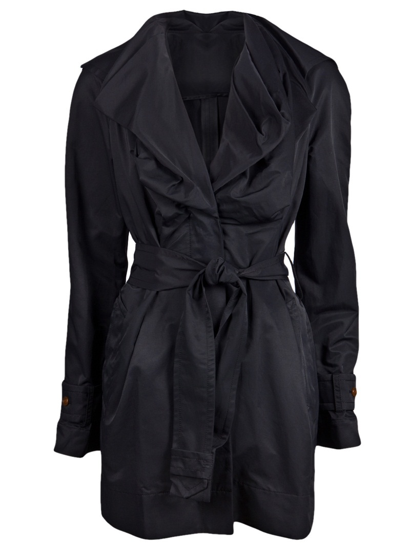 Waterproof Mac Trench - pattern: plain; hip detail: side pockets at hip; collar: wide lapels; style: trench coat; fit: slim fit; length: mid thigh; predominant colour: black; occasions: casual, work, occasion; fibres: cotton - mix; material texture: satin; waist detail: belted waist/tie at waist/drawstring; sleeve length: long sleeve; sleeve style: standard; texture group: structured shiny - satin/tafetta/silk etc.; pattern type: fabric; pattern size: standard