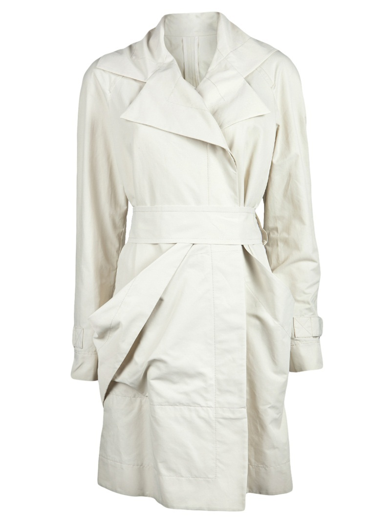 Waterproof Mac Trench - pattern: plain; collar: wide lapels; style: trench coat; hip detail: front pockets at hip, ruching at hip; fit: slim fit; length: mid thigh; predominant colour: white; occasions: casual, work; fibres: cotton - mix; material texture: satin; waist detail: belted waist/tie at waist/drawstring; sleeve length: long sleeve; sleeve style: standard; texture group: structured shiny - satin/tafetta/silk etc.; pattern type: fabric; pattern size: standard
