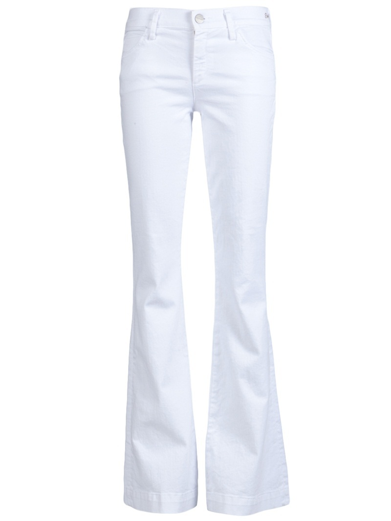 Elan Flare Jean - style: flares; length: standard; pattern: plain; pocket detail: traditional 5 pocket; waist: mid/regular rise; predominant colour: white; occasions: casual; fibres: cotton - stretch; material texture: denim; trends: white; texture group: denim; pattern type: fabric; pattern size: standard