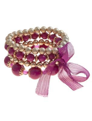 Purple Beaded Ribbon Bracelets - predominant colour: purple; style: friendship bracelet; size: standard; material: beaded; embellishment: beading