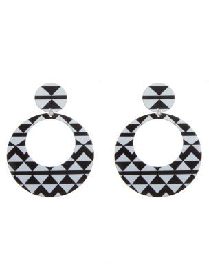 Monochrome Aztec Chevron Earrings - predominant colour: black; style: drop; length: long; size: large/oversized; material: plastic/rubber; fastening: pierced
