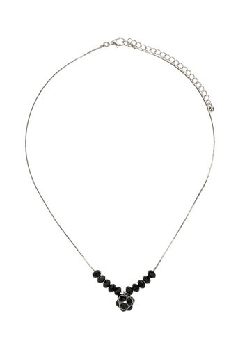 Black Facet Bead Ditsy Necklace - predominant colour: black; style: pendant; length: short; size: small/fine; material: chain/metal