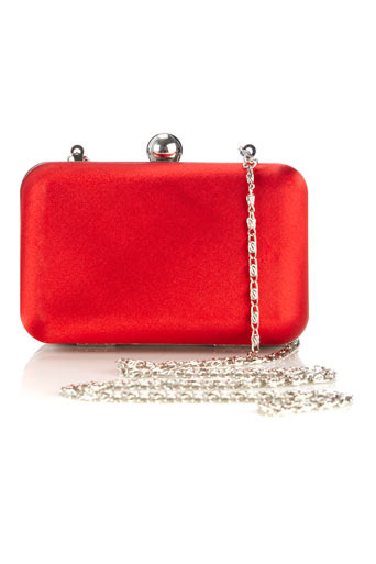 Coral Satin Box Clutch - predominant colour: true red; style: clutch; length: hand carry; size: mini; material: satin; pattern: plain