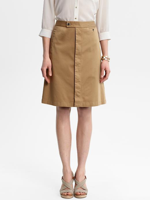 Heritage A Line Skirt - pattern: plain; fit: loose/voluminous; waist detail: fitted waist, narrow waistband; waist: mid/regular rise; predominant colour: tan; occasions: casual, evening, work; length: on the knee; style: a-line; fibres: cotton - stretch; material texture: silky; texture group: silky - light; pattern type: fabric; pattern size: standard