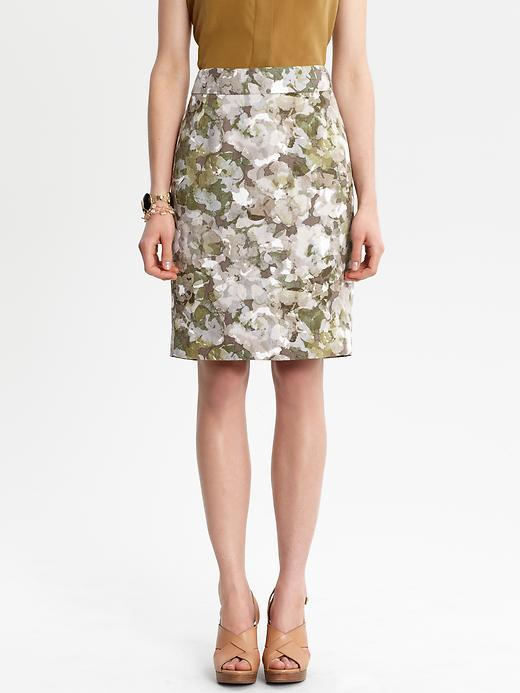 Mirabelle Blooms Pencil Skirt - pattern: floral - busy, abstract, florals, patterned/print; style: straight; fit: tailored/fitted; waist detail: fitted waist, narrow waistband; hip detail: fitted at hip; waist: mid/regular rise; occasions: casual, occasion; length: on the knee; fibres: linen - mix; material texture: sateen; predominant colour: multicoloured; trends: prints; texture group: structured shiny - satin/tafetta/silk etc.; pattern type: fabric; pattern size: small & busy