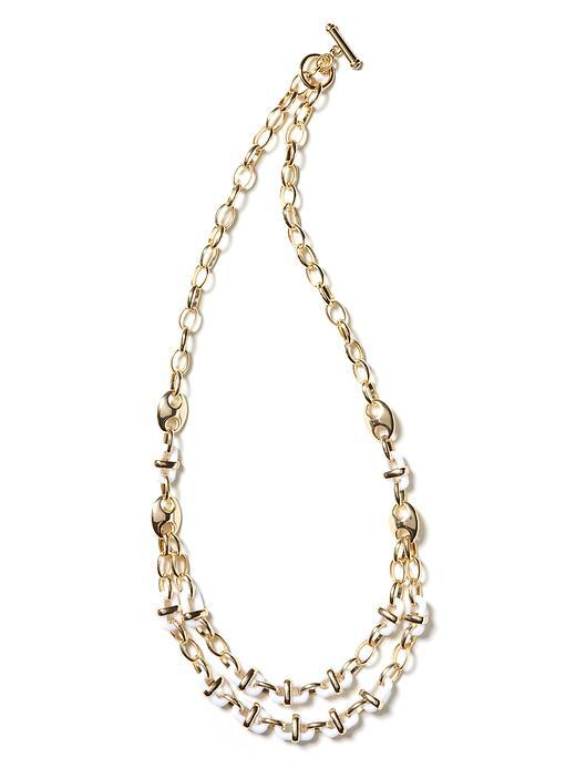 Box Chain Necklace - predominant colour: white; style: multistrand; length: short; size: standard; material: chain/metal