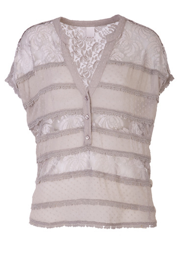 Grey Licia Top - pattern: plain, lace; sleeve style: sleeveless; bust detail: buttons at bust (in middle at breastbone)/zip detail at bust; predominant colour: light grey; occasions: casual, evening, work; length: standard; style: top; neckline: mandarin with v-neck; fibres: polyester/polyamide - mix; material texture: lace; fit: body skimming; trends: pastels; sleeve length: sleeveless; texture group: lace; pattern type: fabric; pattern size: standard