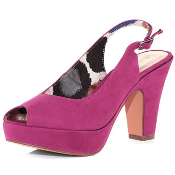 Pink Platform Sling Backs - predominant colour: hot pink; material: suede; heel height: high; ankle detail: ankle strap; heel: block; toe: open toe/peeptoe; style: slingbacks