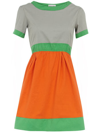 Orange Pastel Tunic - style: tunic; neckline: round neck; pattern: lightly patterned, patterned/print; waist detail: elasticated waist, fitted waist; predominant colour: bright orange; occasions: casual; length: just above the knee; fit: body skimming; fibres: cotton - mix; material texture: chiffon; hip detail: sculpting darts/pleats/seams at hip; bust detail: contrast pattern/fabric/detail at bust; sleeve length: short sleeve; sleeve style: standard; texture group: sheer fabrics/chiffon/organza etc.; pattern type: fabric; pattern size: small & light