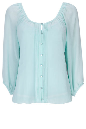 Mint Button Through Blouson - neckline: round neck; pattern: plain; style: blouse; bust detail: ruching/gathering/draping/layers/pintuck pleats at bust; predominant colour: pistachio; occasions: casual; length: standard; fibres: polyester/polyamide - 100%; material texture: corduroy; fit: body skimming; trends: pastels; sleeve length: 3/4 length; sleeve style: standard; texture group: corduroy; pattern type: fabric; pattern size: standard