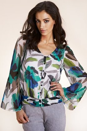 Per Una Sequin & Floral Blouse With Camisole - neckline: v-neck; sleeve style: angel/waterfall; pattern: plain; style: blouse; hip detail: fitted at hip, fitted hem at hip; occasions: casual; length: standard; fibres: polyester/polyamide - 100%; material texture: chiffon; fit: body skimming; shoulder detail: added shoulder detail; predominant colour: multicoloured; trends: prints; sleeve length: long sleeve; texture group: sheer fabrics/chiffon/organza etc.; pattern type: fabric; pattern size: small & busy; embellishment: sequins