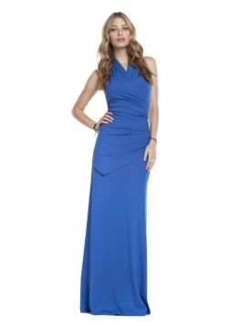 The Halter Drape Maxi - pattern: plain; sleeve style: sleeveless; style: maxi dress; waist detail: fitted waist, twist front waist detail/nipped in at waist on one side/soft pleats/draping/ruching/gathering waist detail; neckline: halter neck; bust detail: ruching/gathering/draping/layers/pintuck pleats at bust; predominant colour: royal blue; occasions: evening, occasion; length: floor length; fit: body skimming; fibres: polyester/polyamide - stretch; material texture: jersey; trends: brights; sleeve length: sleeveless; pattern type: fabric; pattern size: standard; texture group: jersey - stretchy/drapey
