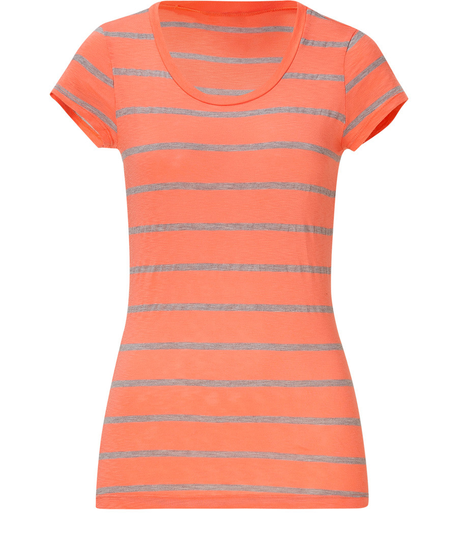 Sunset And Nutmeg Striped Cap Sleeve Top - pattern: horizontal stripes; waist detail: fitted waist; style: t-shirt; hip detail: fitted at hip; predominant colour: coral; occasions: casual; length: standard; fibres: cotton - mix; material texture: jersey; fit: body skimming; neckline: crew; trends: prints, brights; sleeve length: short sleeve; sleeve style: standard; pattern type: fabric; pattern size: standard; texture group: jersey - stretchy/drapey