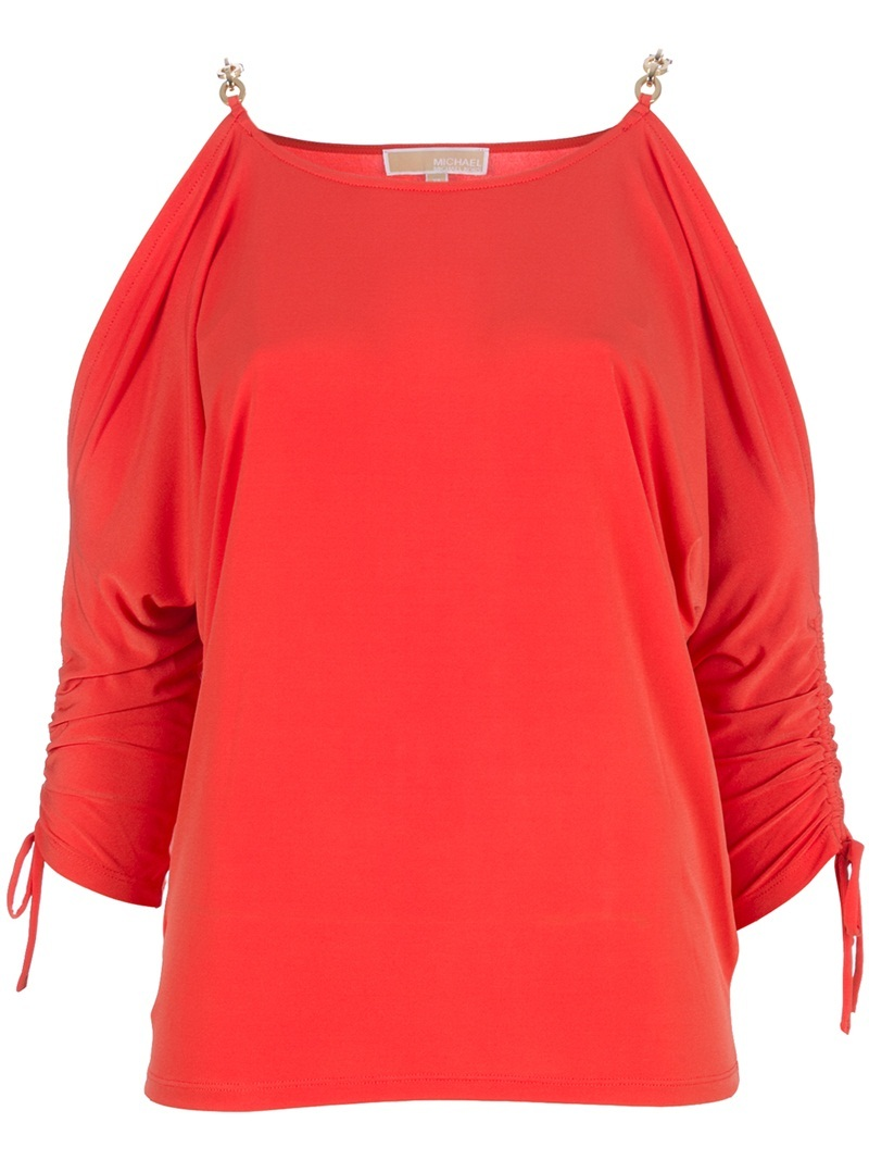 Open Shoulder Top - pattern: plain; hip detail: fitted at hip; predominant colour: bright orange; occasions: casual, evening; length: standard; style: top; neckline: scoop; fibres: polyester/polyamide - stretch; material texture: jersey; fit: body skimming; shoulder detail: added shoulder detail, cut out shoulder; trends: brights; sleeve style: standard; pattern type: fabric; pattern size: standard; texture group: jersey - stretchy/drapey