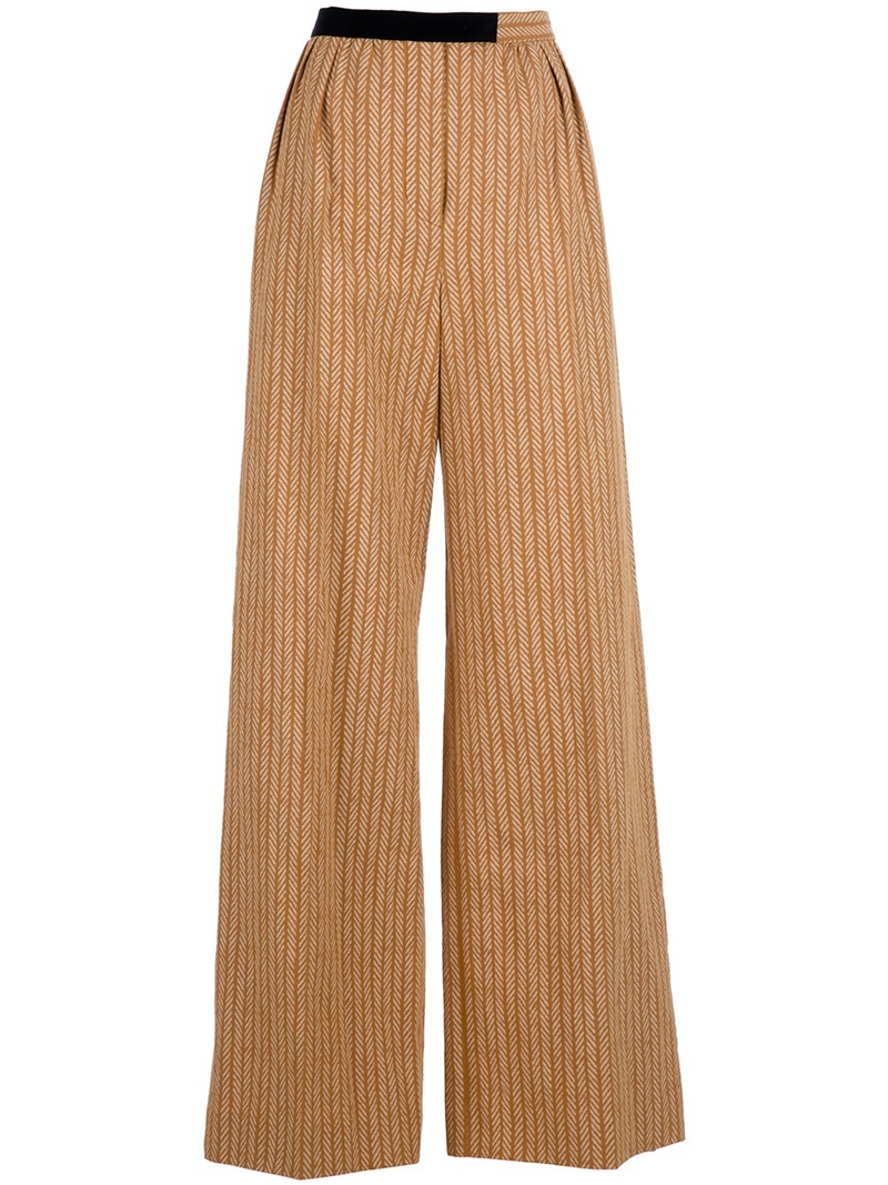 'Chevron Wide' Trouser - length: standard; waist detail: fitted waist; pocket detail: small back pockets, pockets at the sides; waist: high rise; predominant colour: camel; occasions: casual; fibres: cotton - mix; material texture: silky; trends: prints; texture group: silky - light; fit: wide leg; style: standard