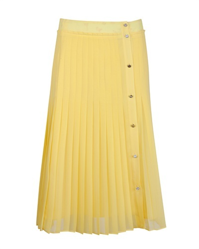 Ted Baker Jadica Pleated Midi Skirt - length: calf length; pattern: plain; fit: loose/voluminous; style: pleated; waist detail: fitted waist, narrow waistband; waist: mid/regular rise; predominant colour: yellow; occasions: casual, evening, work; fibres: polyester/polyamide - 100%; material texture: chiffon; hip detail: structured pleats at hip; trends: pastels, brights; texture group: sheer fabrics/chiffon/organza etc.; pattern type: fabric; pattern size: standard