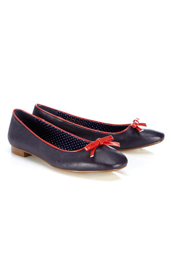 Navy Bow Ballerina Pump - predominant colour: navy; material: faux leather; heel height: flat; embellishment: ribbon; toe: round toe; style: ballerinas / pumps