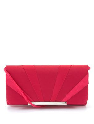 Red Satin Clutch Bag - predominant colour: true red; style: clutch; length: hand carry; size: small; material: satin; embellishment: pleated; pattern: plain