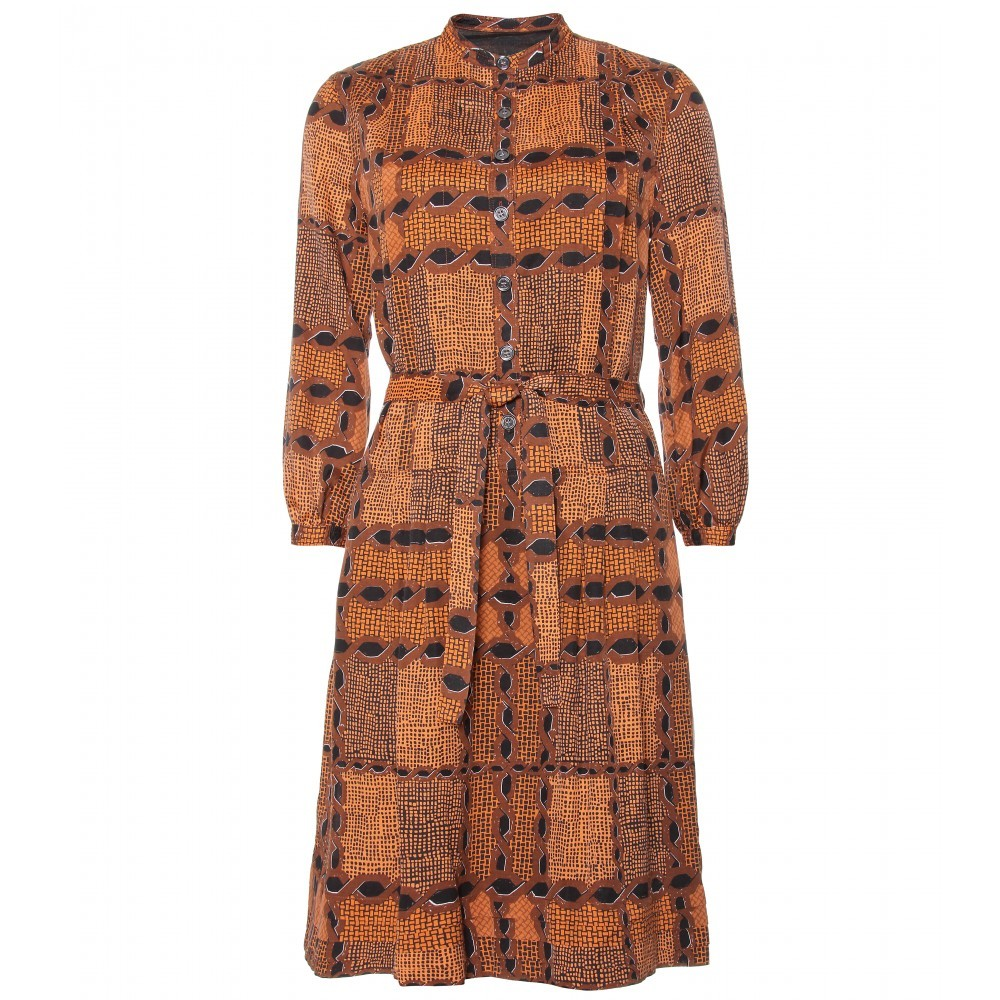 Irenie Ethinic Print Shirtdress - style: shirt; neckline: mandarin; fit: fitted at waist; waist detail: fitted waist, twist front waist detail/nipped in at waist on one side/soft pleats/draping/ruching/gathering waist detail, belted waist/tie at waist/drawstring; bust detail: buttons at bust (in middle at breastbone)/zip detail at bust; predominant colour: terracotta; occasions: casual; length: on the knee; fibres: cotton - mix; material texture: chiffon; hip detail: soft pleats at hip/draping at hip/flared at hip; pattern: graphic print, patterned/print; trends: prints; sleeve length: long sleeve; sleeve style: standard; texture group: sheer fabrics/chiffon/organza etc.; pattern type: fabric; pattern size: standard