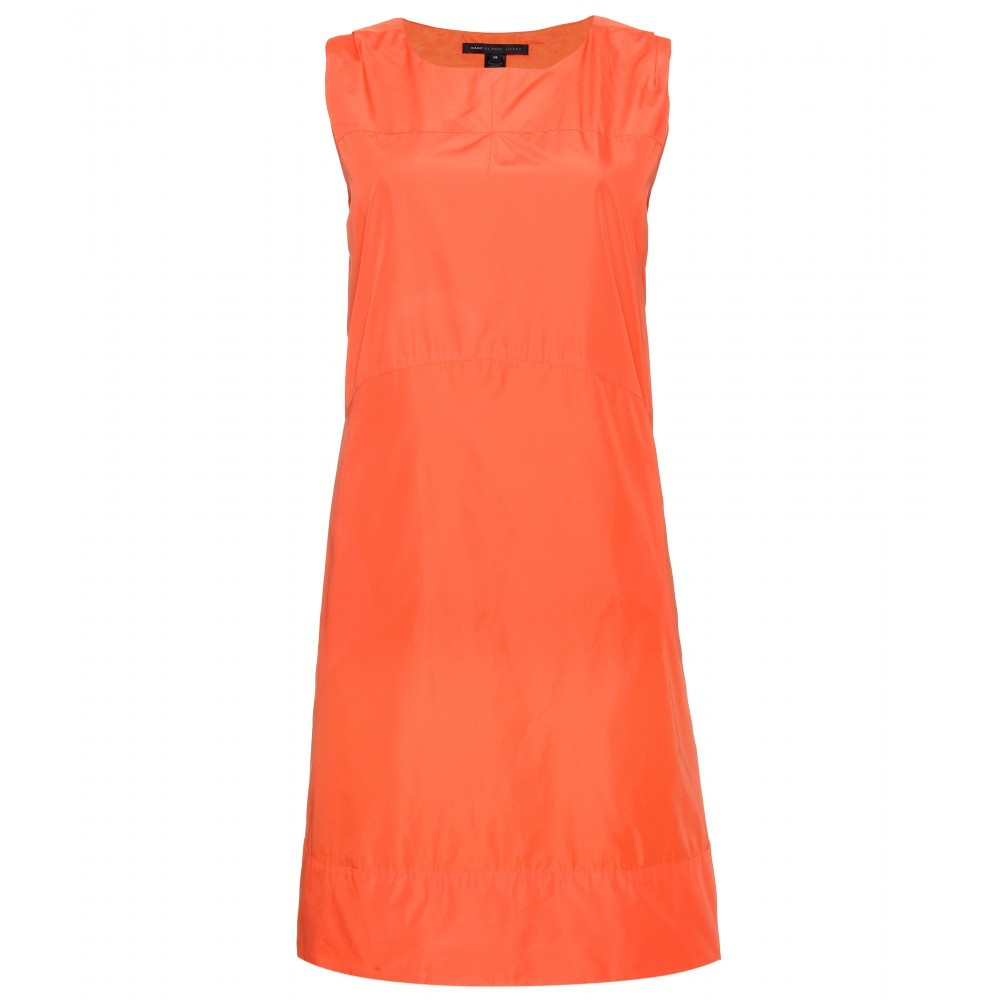 Saatchi Solids Shift Dress - style: shift; neckline: round neck; fit: tailored/fitted; pattern: plain; sleeve style: sleeveless; predominant colour: bright orange; occasions: evening; length: just above the knee; fibres: polyester/polyamide - 100%; material texture: chiffon; trends: brights; sleeve length: sleeveless; texture group: sheer fabrics/chiffon/organza etc.; pattern type: fabric; pattern size: standard