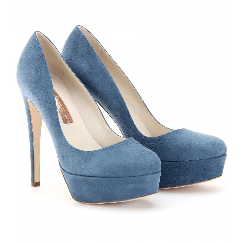 Harper Platform Suede Pumps - predominant colour: pale blue; material: suede; heel height: high; heel: platform; toe: round toe; style: courts