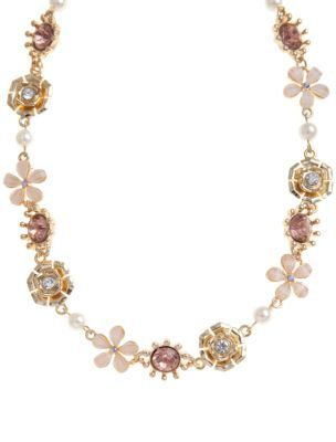Flower Necklace - predominant colour: gold; style: standard; length: mid; size: standard; material: beaded; embellishment: beading