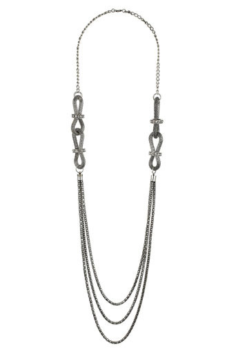 Silver Mesh Chain Necklace - predominant colour: silver; style: multistrand; length: long; size: standard; material: chain/metal