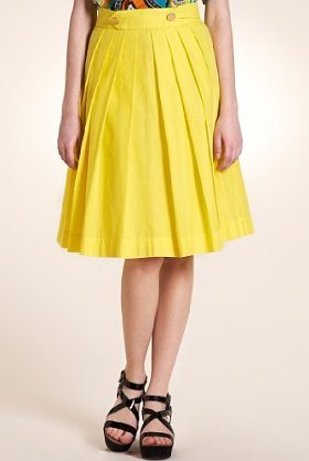 Limited Collection Pure Cotton Pleated Prom Skirt - pattern: plain; style: full/prom skirt; fit: body skimming; waist detail: fitted waist, structured pleats at waist, narrow waistband; waist: mid/regular rise; predominant colour: yellow; occasions: casual; length: on the knee; fibres: cotton - 100%; material texture: chiffon; hip detail: structured pleats at hip, soft pleats at hip/draping at hip/flared at hip; trends: brights; texture group: sheer fabrics/chiffon/organza etc.; pattern type: fabric; pattern size: standard