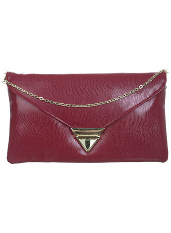 Snake Effect Pink Clutch - predominant colour: burgundy; style: clutch; length: hand carry; size: small; material: faux leather; pattern: plain