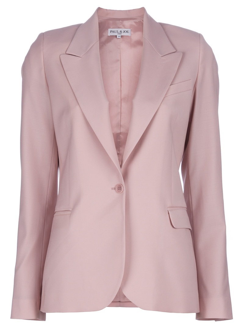 'Halyre' Jacket - pattern: plain; style: single breasted blazer; shoulder detail: shoulder pads; hip detail: side pockets at hip, front pockets at hip; length: below the bottom; collar: standard lapel/rever collar; predominant colour: blush; occasions: casual, work; fit: tailored/fitted; fibres: wool - mix; material texture: jersey; waist detail: fitted waist; trends: pastels; sleeve length: long sleeve; sleeve style: standard; collar break: medium; pattern type: fabric; pattern size: standard; texture group: jersey - stretchy/drapey