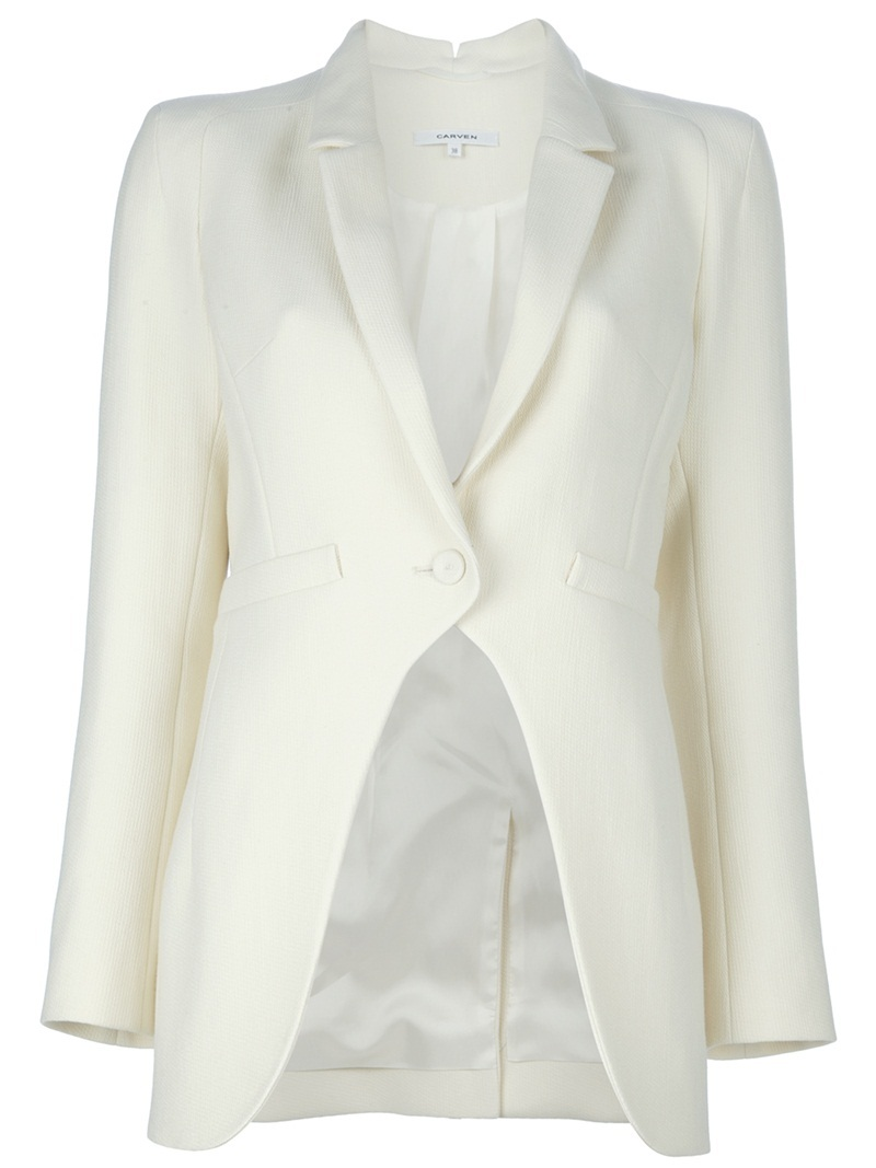Textured Blazer - pattern: plain; style: single breasted blazer; length: below the bottom; fit: slim fit; collar: standard lapel/rever collar; predominant colour: ivory; occasions: casual; fibres: cotton - mix; material texture: jersey; sleeve length: long sleeve; sleeve style: standard; collar break: medium; pattern type: fabric; pattern size: standard; texture group: jersey - stretchy/drapey