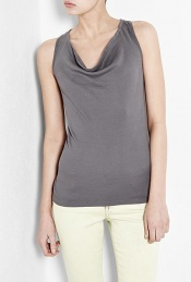 Tomboy Cowl Neck Vest Top - neckline: cowl/draped neck; pattern: plain; sleeve style: sleeveless; back detail: racer back/sports back; hip detail: fitted at hip; bust detail: ruching/gathering/draping/layers/pintuck pleats at bust; predominant colour: mid grey; occasions: casual, evening, work; length: standard; style: top; fibres: cotton - 100%; material texture: jersey; fit: tailored/fitted; sleeve length: sleeveless; pattern type: fabric; pattern size: standard; texture group: jersey - stretchy/drapey