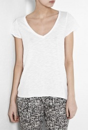 White Jacksonville Short Sleeve T Shirt - neckline: low v-neck; pattern: plain; style: t-shirt; predominant colour: white; occasions: casual; length: standard; fibres: cotton - mix; material texture: jersey; fit: body skimming; trends: white, sports luxe; sleeve length: short sleeve; sleeve style: standard; pattern type: fabric; pattern size: standard; texture group: jersey - stretchy/drapey