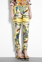 Scarf Print Silk Trousers - length: standard; waist detail: fitted waist, narrow waistband; pocket detail: pockets at the sides; waist: mid/regular rise; predominant colour: yellow; occasions: casual, evening; fibres: silk - 100%; material texture: silky; trends: prints, brights; texture group: silky - light; fit: slim leg; style: standard