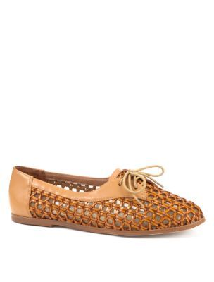 Brown Woven Flat Shoes - predominant colour: camel; material: faux leather; heel height: flat; toe: round toe; style: brogues