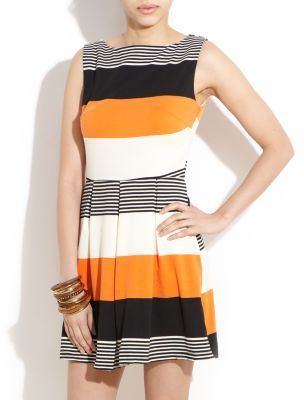Ax Paris Orange Stripe Skater Dress - length: mid thigh; neckline: slash/boat neckline; fit: fitted at waist; sleeve style: sleeveless; pattern: striped; waist detail: twist front waist detail/nipped in at waist on one side/soft pleats/draping/ruching/gathering waist detail; predominant colour: bright orange; occasions: casual, evening; style: fit & flare; fibres: polyester/polyamide - 100%; material texture: jersey; hip detail: sculpting darts/pleats/seams at hip; trends: prints, brights; sleeve length: sleeveless; pattern type: fabric; pattern size: standard; texture group: jersey - stretchy/drapey