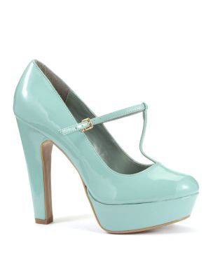 Pale Blue Patent T Bar Platform Court Shoes - predominant colour: pale blue; material: patent; heel height: high; embellishment: buckles; ankle detail: ankle strap; heel: platform; toe: round toe; style: t-bar; finish: patent