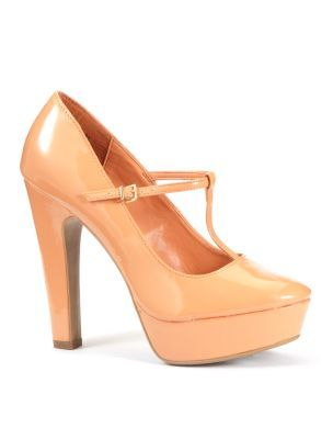 Peach Patent T Bar Platform Court Shoes - predominant colour: nude; material: patent; heel height: high; embellishment: buckles; ankle detail: ankle strap; heel: platform; toe: round toe; style: t-bar; finish: patent