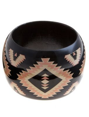 Black Aztec Bangle - predominant colour: black; style: bangle; size: large/oversized; material: plastic/rubber