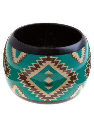 Turquoise Aztec Bangle - predominant colour: teal; style: bangle; size: large/oversized; material: plastic/rubber
