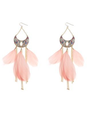 Pastel Crescent Feather Earrings - predominant colour: blush; style: drop; length: long; size: large/oversized; material: feather; fastening: pierced; embellishment: feathers