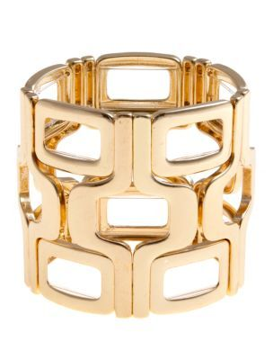 Gold Graphic Stretch Bracelet - predominant colour: gold; style: cuff; size: large/oversized; material: chain/metal