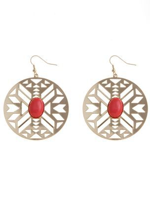 Coral Stone Cut Out Disc Earrings - predominant colour: coral; style: drop; length: mid; size: standard; material: chain/metal; fastening: pierced