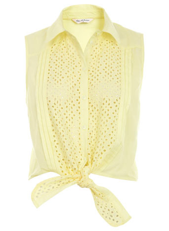 Lemon Broderie Shirt - neckline: shirt collar/peter pan/zip with opening; pattern: plain; sleeve style: sleeveless; style: shirt; waist detail: belted waist/tie at waist/drawstring; bust detail: ruching/gathering/draping/layers/pintuck pleats at bust, buttons at bust (in middle at breastbone)/zip detail at bust; predominant colour: primrose yellow; occasions: casual; length: standard; fibres: cotton - 100%; material texture: chiffon; fit: body skimming; trends: pastels; sleeve length: sleeveless; texture group: sheer fabrics/chiffon/organza etc.; pattern type: fabric; pattern size: small &amp; light; embellishment: embroidered
