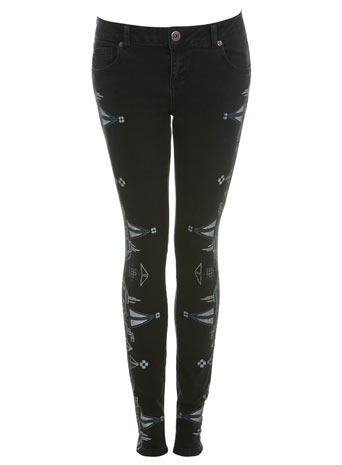 Black Jean With Aztec Detail - style: skinny leg; length: standard; pattern: lightly patterned, print, abstract, patterned/print; waist: low rise; pocket detail: pockets at the sides, traditional 5 pocket; predominant colour: black; occasions: casual, evening; fibres: cotton - stretch; material texture: denim; jeans detail: dark wash; trends: prints; texture group: denim; pattern type: fabric; pattern size: small &amp; light