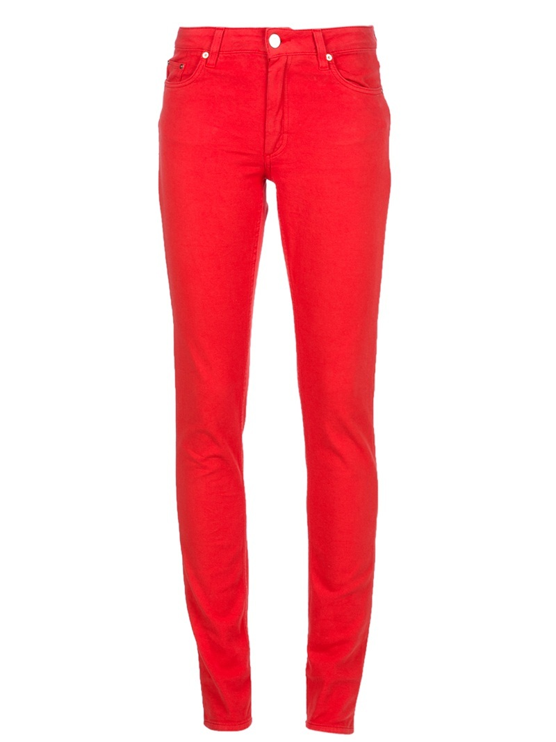 'Flex' Jean - style: skinny leg; length: standard; pattern: plain; waist: high rise; pocket detail: traditional 5 pocket; predominant colour: true red; occasions: casual, evening; fibres: cotton - stretch; material texture: denim; trends: brights; texture group: denim; pattern type: fabric; pattern size: standard