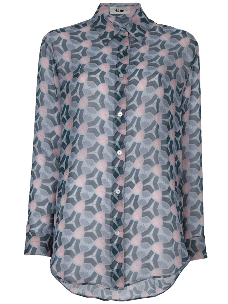 'Frequency Print Patti' Shirt - neckline: shirt collar/peter pan/zip with opening; pattern: print, abstract, graphic print, patterned/print; length: below the bottom; style: shirt; bust detail: buttons at bust (in middle at breastbone)/zip detail at bust; occasions: casual, work; fibres: silk - 100%; material texture: chiffon; fit: loose; hip detail: dip hem; predominant colour: multicoloured; trends: prints; sleeve length: long sleeve; sleeve style: standard; texture group: sheer fabrics/chiffon/organza etc.; pattern type: fabric; pattern size: standard